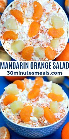 Mandarin Orange Salad is creamy, cool, and studded with juicy orange and pineapple slices #salad #citrus #mandarinorangesalad #easyrecipe #30minutesmeals