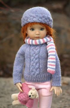 """PLAITED & PRECIOUS""--OOAK Sweater Set for Effner's 13"" Little Darling . SOLD for $70.99 on 3/8/15. Hat, scarf, jeans and little bear from sew-cool99"