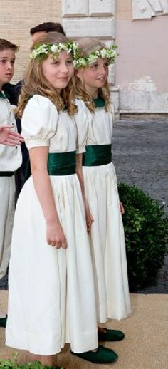 Belgium's Princess Elisabeth and her cousin Princess Louise at the Royal wedding of Belgium Prince Amedeo and Lili (Elisabetta) Rosboch von Wolkenstein at the Basilica di Santa Maria in Trastevere in Rome, Italy, 05.07.2014