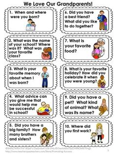 Grandparent's Day: Grandparents are so special, and it is a blast to have them visit school! But what do you do once they get there? This 23 page packet is your solution! You will receive 10 biography questions for the students to ask their grandparent. There are several different formats to meet your classroom needs. You can use them as task cards, conversation starters, or research for writing a biography. I have also included writing papers and coloring pages.