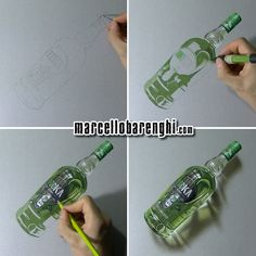 A bottle of Oddka vodka - four drawing stages by Marcello Barenghi, mixed media on gray paper.