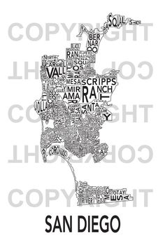 This Urban Neighborhood Poster of San Diego is a modern twist on traditional maps.