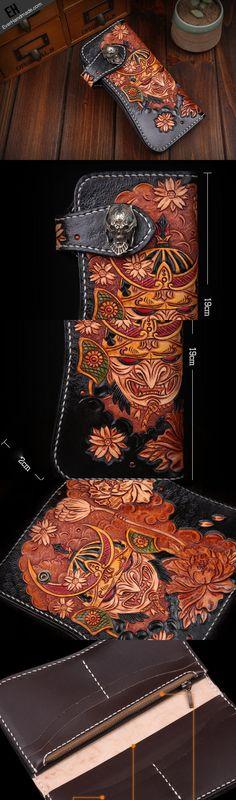 Handmade leather biker trucker japanese general wallet leather men chain Black Carved Tooled wallet