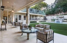 A great covered outdoor space for entertaining that looks over the entire backyard. 141 Monovale Dr | Beverly Hills