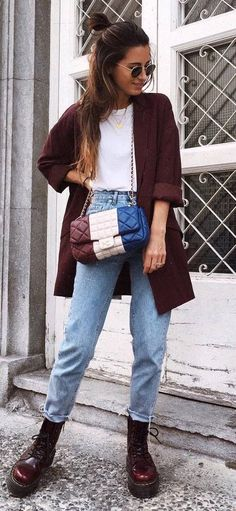 fashion trends / brown blazer + top + bag + jeans + boots