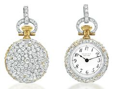 A BELLE ÉPOQUE DIAMOND POCKETWATCH, BY TIFFANY & CO.   With keyless lever mechanical jeweled movement, the white circular dial with black Arabic numerals and blued-steel hands, within an old European-cut diamond case, to the rose-cut diamond winding stem and circular-cut diamond hoop, mounted in platinum and 18k gold, circa 1910, with French assay marks, top hoop possibly of later addition