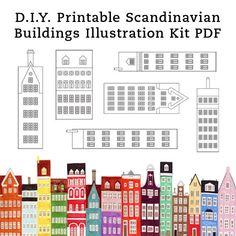 BRICOLAGE scandinave bâtiments et maisons imprimable Illustration Art artisanat Kit PDF 8.5 x 11