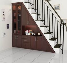 25 Trick And Hack Incredible Under Stairs Minimalist Designs Ideas, To Maximize Your Interiors in Style, That Will Catch Your Eye - Decor Units Home Stairs Design, Interior Stairs, Home Room Design, Interior Design Living Room, Stair Design, Smart Home Design, Staircase Storage, House Staircase, Narrow House Designs