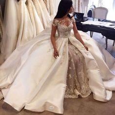 vestido de noiva Luxury 2016 New Sexy Short Sleeve White Beaded Lace Satin Ball Gown Wedding Dress Bridal Gown robe de mariage
