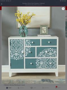 Coast to Coast Garden-Print Five-Drawer Cabinet Refurbished Furniture, Upcycled Furniture, Furniture Makeover, Furniture Hacks, Recycled Furniture, Furniture Restoration, Redo Furniture, Stencil Furniture, Refinishing Furniture