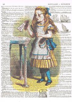 Alice in Wonderland Drink Me. Colour. Antique by JackieBassettArt