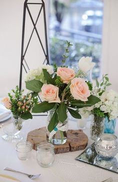 Flower Arrangements Inspiration: Peach wedding centerpiece #floral #peach #centerpiece  Photo by: Larissa Nicole Photography on Bridal Musings