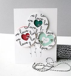 Love You Shaker Card by Danielle Flanders for Papertrey Ink (December 2014)