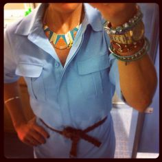 I love my Aztec necklace!! I found it in a vintage shop and it'sjust the right colors to accent the blue dress.