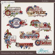 Americana Pride the Word Art Clusters by Meagan's Creations