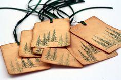 Christmas Tags, Evergreen trees, vintage inspired tag, Gift tags, Christmas Holiday favor tags, Christmas Tree, Green Pine trees. $4.75, via Etsy.