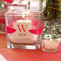 Wedding table accent - candle in sand