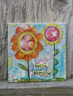 "4 x 4 Original Mixed Media Collage Art Canvas Panel, Whimsical Flowers, Wall art, Orange, Pink, Aqua - ""Hello Morning"""
