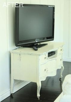 Dresser Into TV Stands Simmons Kids.Sauder Harbor View Corner TV Stand 420471 - The . Home and Family Furniture Projects, Furniture Makeover, Diy Furniture, Painted Furniture, Repurposed Furniture, Dresser Repurposed, Repurposed Items, Entertainment Center, Entertainment Products