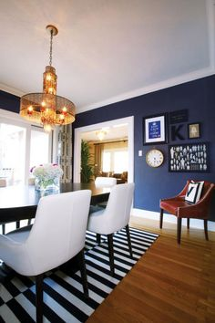 Vintage modern dining- kind of getting into this for my dinning room... But instead of blue do mocha