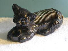Vintage Black Cat Pottery Letter & Pen Holder - Japan