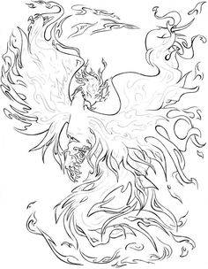 Realistic Phoenix Coloring Pages to Print - Coloring For Kids 2019 Colouring Pics, Coloring Pages To Print, Free Printable Coloring Pages, Coloring Book Pages, Coloring Sheets, Fairy Coloring, Pictures Of Phoenix, Drake, Dragons