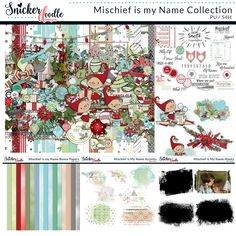 "Release your inner child as you create your digital scrapbook pages using ""Mischief is my Name"" by Snickerdoodle Designs. This bright, cheerful kit is full of whimsical (and mischievous!) elves, unique elements, and delightful papers."