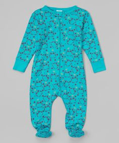 Look at this Sweet Peanut Blue Hoot Organic Footie - Infant on #zulily today!