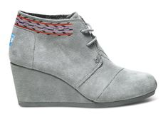 TOMS Grey Embroidered Desert Wedges // how cute would these be with some leopard print socks?