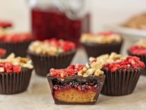 Peanut Butter & Jelly Chocolate Cups: •1/4 cup salted peanuts, /4 cup freeze-dried strawberries or raspberries