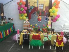 El Chavo del ocho, kids Party, dessert table, childrens party, decoration, Birthday, Idea, mexican theme, custom chair covers, la vecindad
