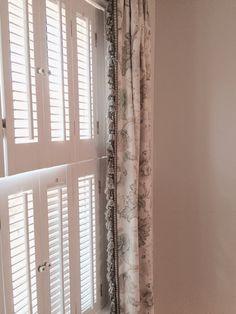 Curtain panels in Calico Corners' Porada Linen Watermark with Brimar trim - Boxwood Terrace bedroom makeover