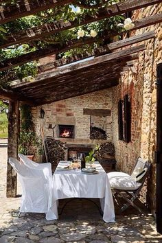 Enjoying a leisurely dinner outside on a hot summer night is one of my all time favorite things. And there is nothing like enjoying dinner outside on a beautiful patio with sting lights and candles for ambiance. Feeling that warm breeze yet? Love the greenery overhead.via Pinterest via Skona Hem via Pinterest via Caroline Legrand Design …
