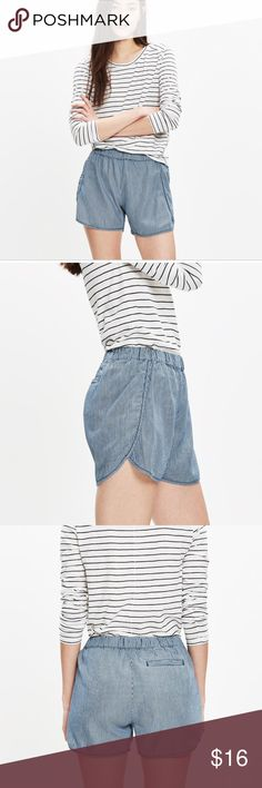 """Madewell Pull-On Shorts in Railroad Stripe Great condition, only worn a few times- """"Our favorite pull-on shorts in rich, yarn-dyed indigo stripes. Super-comfortable and cool, they swap in effortlessly for a pair of cutoffs.    True to size. 3 1/2"""" inseam. Cotton/Tencel® lyocell"""" Madewell Shorts"""