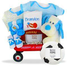 Baby Boy can show off his all star qualities while sporting this adorable blue layette featured in this radio flyer toy wagon. Shop all baby wagon gifts today. Baby Boy Gift Baskets, Baby Shower Gift Basket, Baby Shower Gifts, Unique Baby Boy Gifts, Gifts For Boys, Toy Wagon, Radio Flyer Wagons, Baby Washcloth, Personalized Baby Gifts