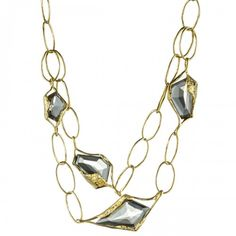 Alexis Bittar: Smokey Quartz Double Link Necklace - Long Necklaces - Necklaces