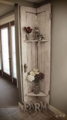 Faye from Farm Life Best Life turned her old barn door into a stunning, rustic shelf with Chocolate Tart, Vanilla Frosting, and Crackle Medium! # rustic Home Decor Almost Demolished, Repurposed Barn Door Decor Furniture Projects, Home Projects, Old Door Projects, Furniture Stores, Furniture Plans, Barn Wood Projects, Office Furniture, Furniture Nyc, Luxury Furniture