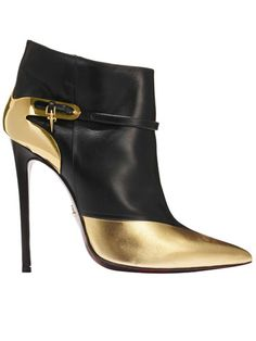 Cesare Paciotti Black & Gold Ankle Boots Fall 2013 $1,164 #Shoes #Booties #Heels