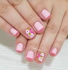 Nail Art Designs, Nail Polish Designs, Spring Nails, Summer Nails, Classy Acrylic Nails, Floral Nail Art, Manicure And Pedicure, Short Nails, Nails Inspiration