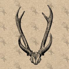 Vintage retro drawing image Deer Horns Antlers Instant Download Digital printable clipart graphic Burlap Fabric Transfer Decor HQ300dpi by UnoPrint on Etsy