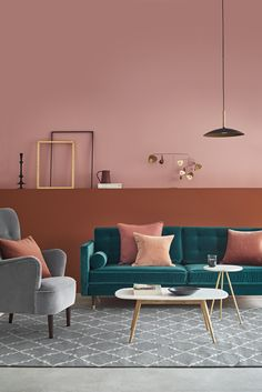 Coral with strong undertones of orange makes a striking contrast with complimentary teal sofa Swoon I think it is Porto?… – color of life Coral Living Rooms, Teal Rooms, Living Room Decor, Living Spaces, Coral Room Decor, Dining Room, Teal Sofa, Turquoise Sofa, Estilo Interior
