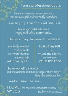 Doula Business Manifesto-What a great vision for doula work!