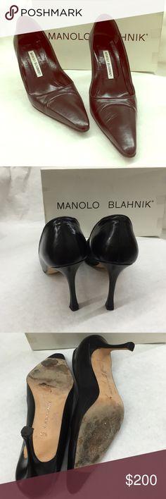 "Manolo Blahnik black leather pointy heels Manolo Blahnik black leather pointy heels bought them from Barney's NewYork made in Italy heels measures about 3.5"" Manolo Blahnik Shoes Heels"