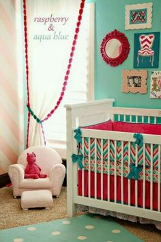Girls nursery berry and teal