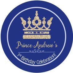 Royal Birthday Personalized Favor Sticker First Birthday
