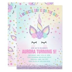 Unicorn Birthday Invitation Magical Unicorn Party - unicorn birthday diy gift idea present unicorns customize Kids Birthday Party Invitations, Diy Invitations, Unicorn Birthday Parties, First Birthday Parties, First Birthdays, Birthday Gifts, 5th Birthday, Birthday Ideas, Fifty Birthday