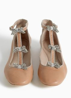 Chloé  Crystal-bow embellished ballerina flats