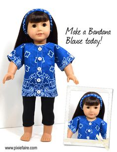"Bandana Blouse 18"" Doll Clothes pattern on Pixie Faire by Love U Bunches"
