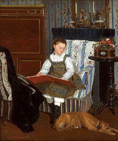 La petite fille au chien-Camille Leopold Cabaillot Lassalle (1839 – ?, French)