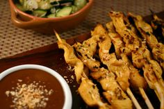 Chicken Satay with 1 Point Peanut Sauce via @EverydayMaven